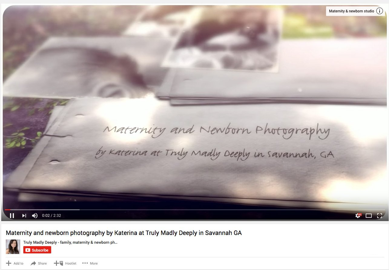 Truly Madly Deeply maternity and newborn photography video blog post screenshot feature image