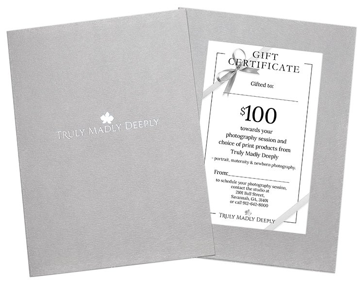 $100 Gift Certificate towards your photography session and choice of print products from Truly Madly Deeply - portrait, maternity & newborn photography in Savannah GA