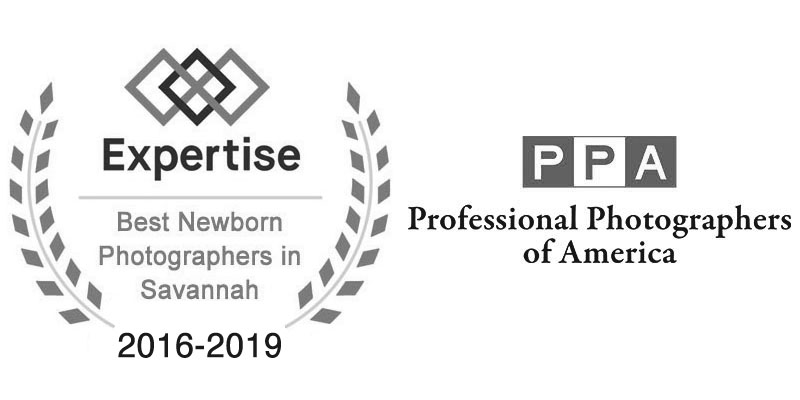 Award badges. Truly Madly Deeply has been a member of Professional Photographers of America since 2015 has received an award from Expertise as one of the region's best newborn photographers from 2016 - 2020