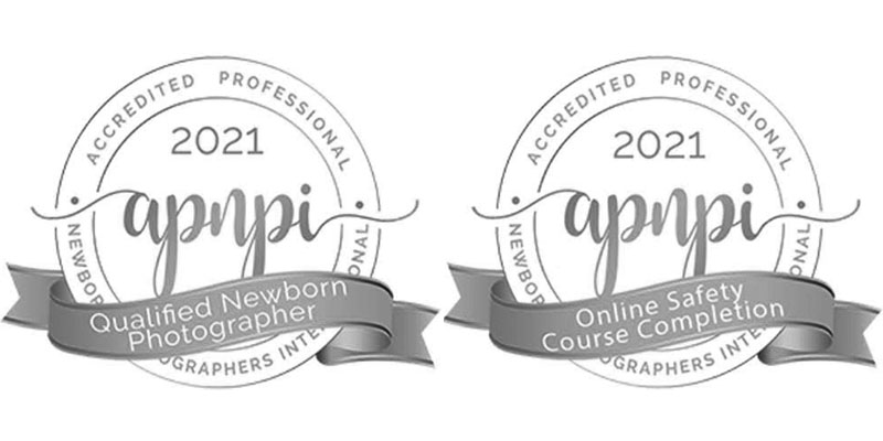 Accreditation badges. Truly Madly Deeply - portrait, maternity and newborn photography is the first newborn photographer in Brevard County and all of Central Florida to receive Qualified Newborn Photographer certification and the Newborn Safety certification from Accredited Professional Newborn Photographers International.